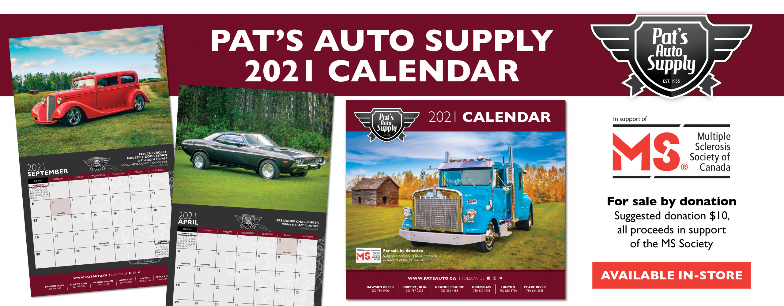 Pat's Auto Supply 2021 Calendars